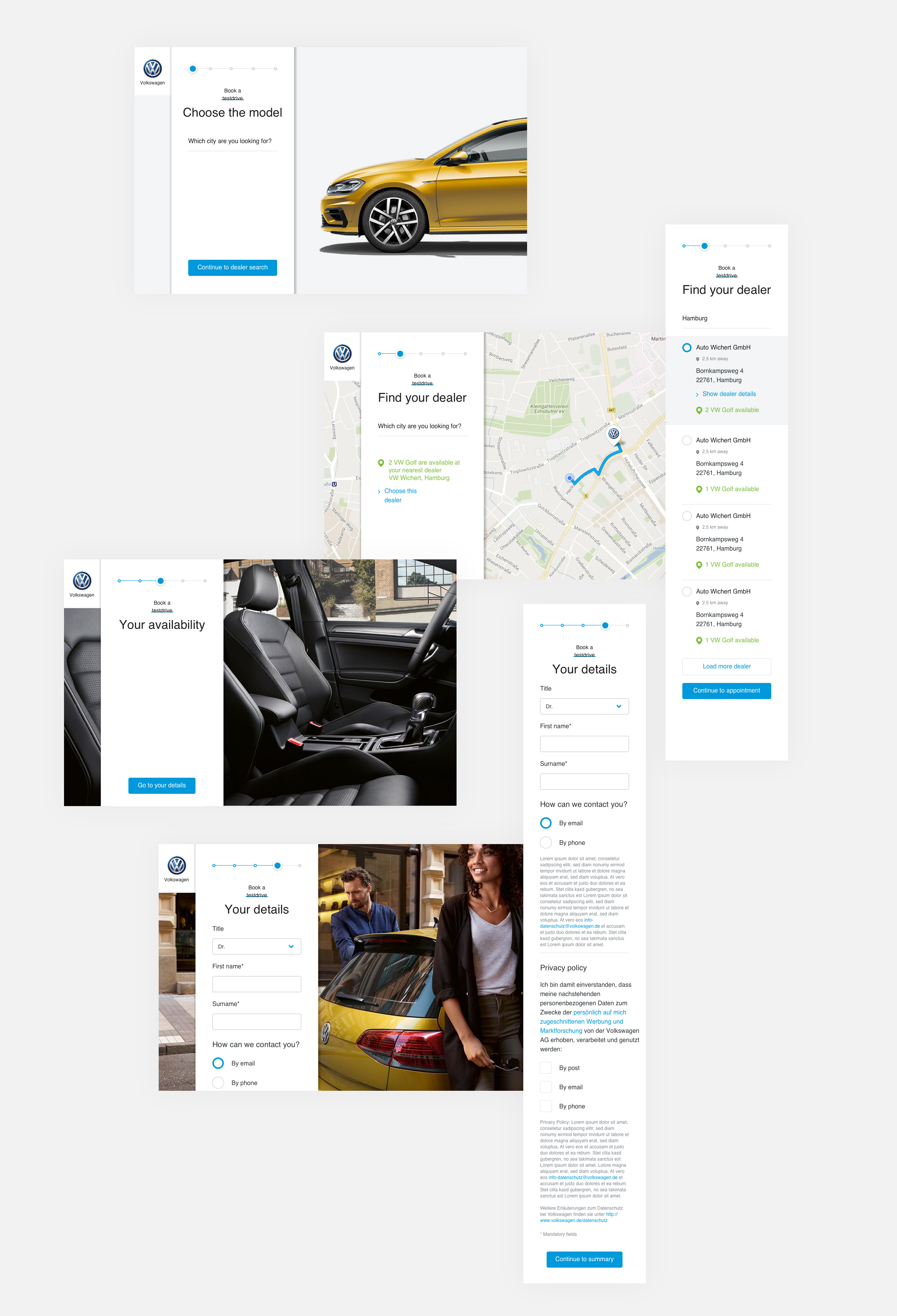 Lea Taaks Art Direction + UI Design - VW Evaluation of forms layouts