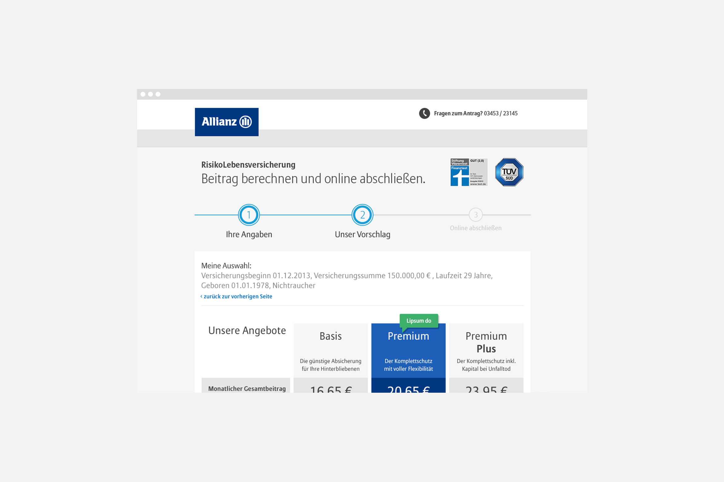Allianz Risikolebensversicherung Website
