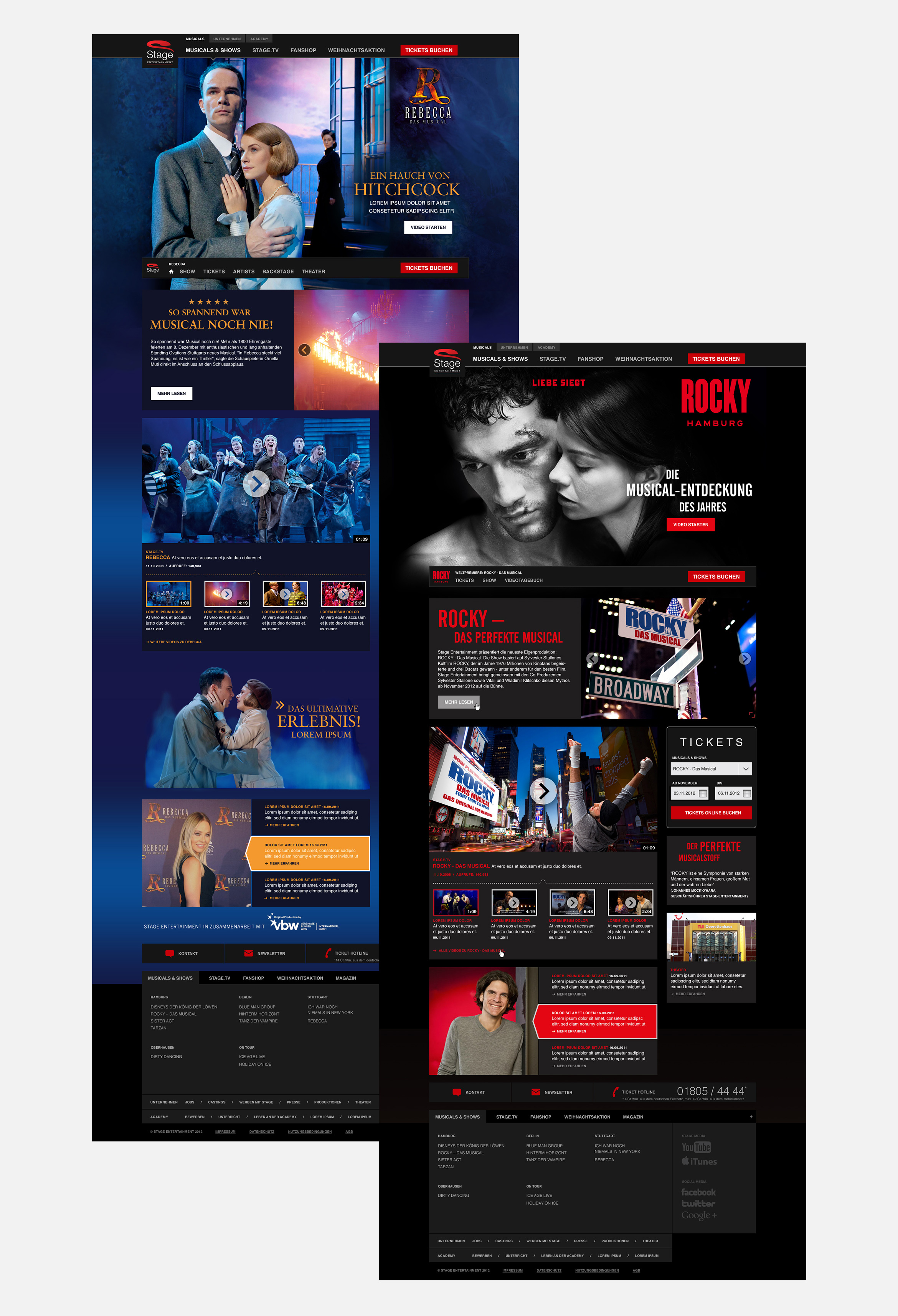 Lea Taaks Art Direction + UI Design - Stage Entertainment Musical Website for SinnerSchrader Agency
