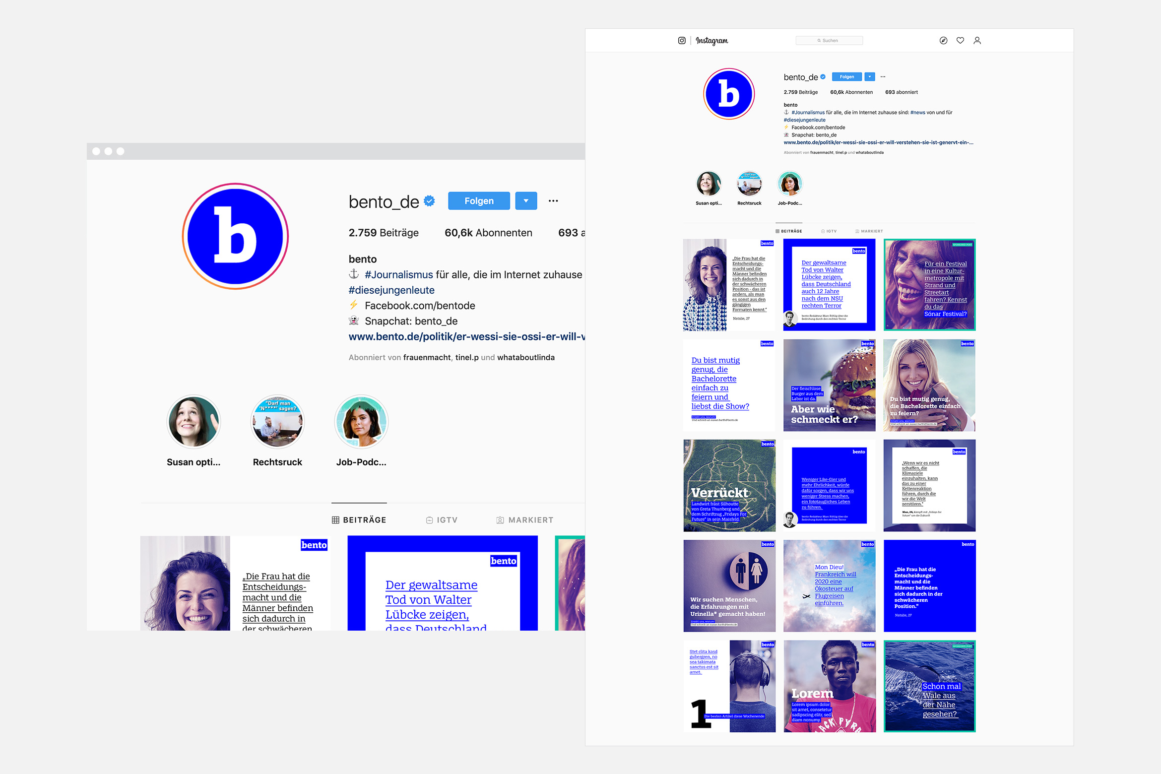 Lea Taaks Art Direction + UI Design – bento Spiegel Online Social Media templates